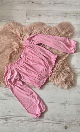 Różowa bluzka hiszpanka top z odkrytymi ramionami haft h&m divided 38