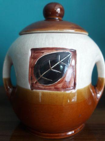 kolekcjonerskie stare naczynie ceramiczne porcelit z wieczkiem