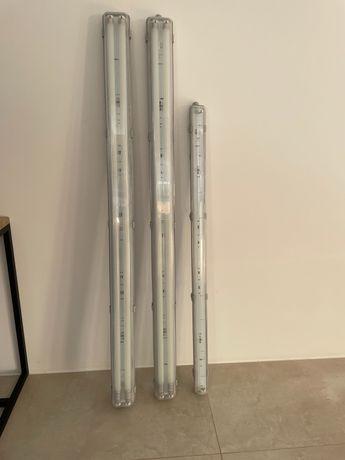 3 Armaduras estanque para 2 tubos LED 2x 158cm e 1 x 127cm