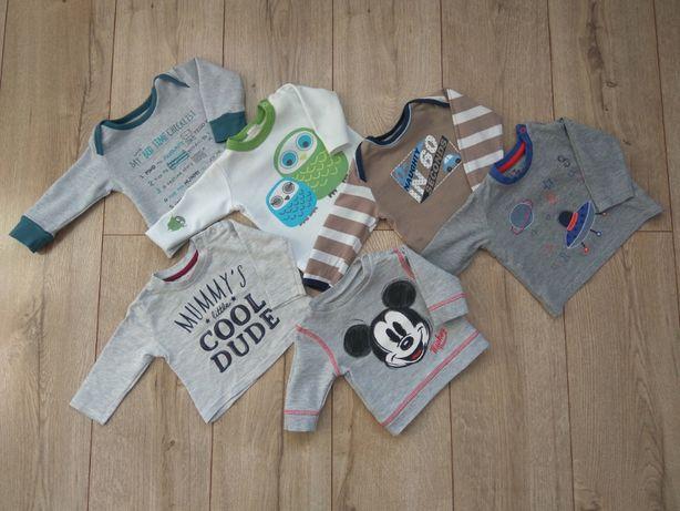 Zestaw koszulek bluzek z długim rękawem niemowlęcych 0-3 m-ące