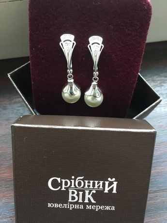 Серьги  серебро 925 с жемчугом и цирконами