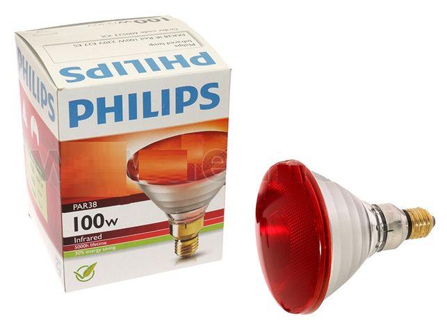 Żarówka promiennikowa Philips 175 WAT czerwona - szkło zbrojone