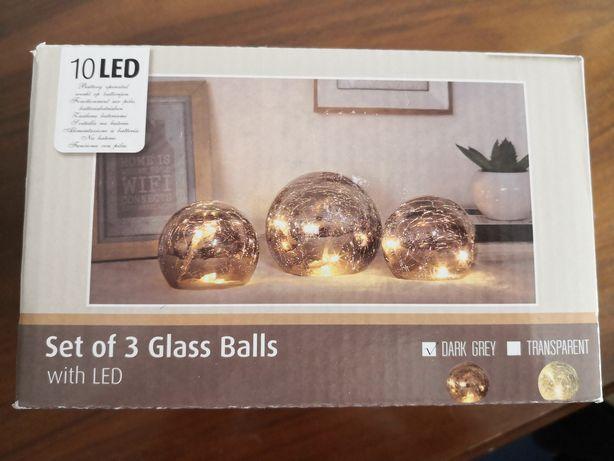 Zestaw 3 szklanych kul 10 Led światełka ozdoba
