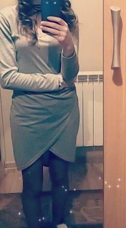 Sukienka szara-asymetryczna - 2 szt + 1 Free