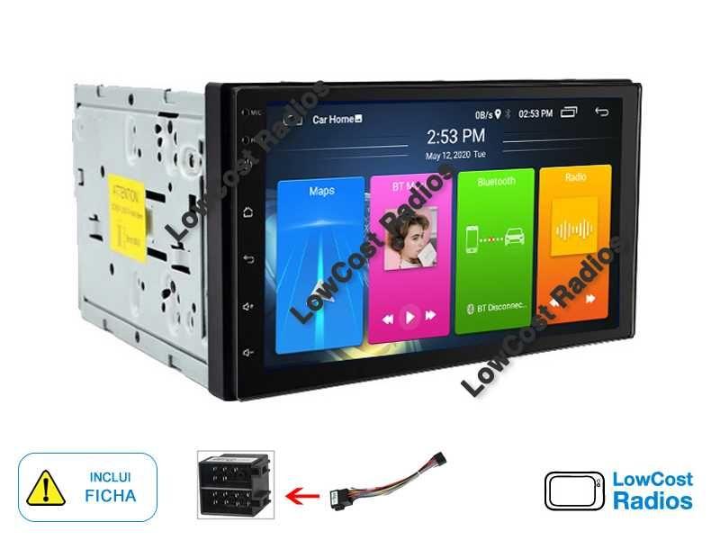 Rádio GPS 2DIN Universal • ANDROID 10 • USB • Mãos livres • Ficha ISO