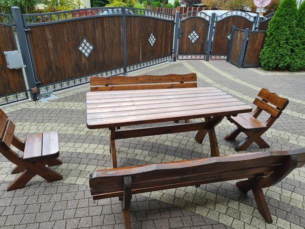 Komplet stół ławy krzesła pełne drewno ogród