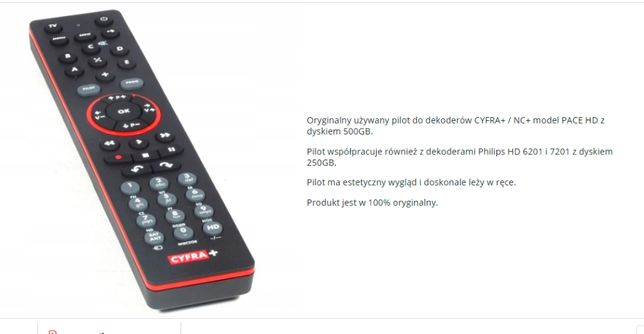 Pilot Cyfra+ NC+ PACE HD PVR HDS7241/91
