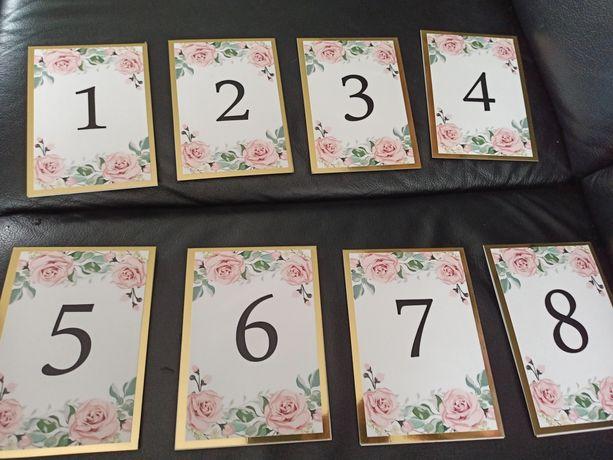 Numery stołów 1-8 wesele