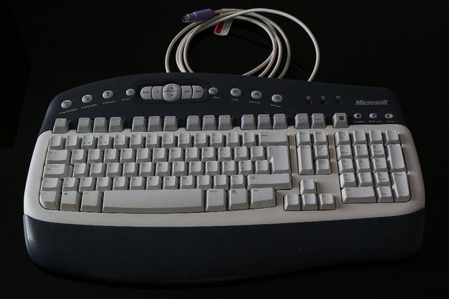 Teclado Microsoft com ficha PS/2 - cinzento e branco