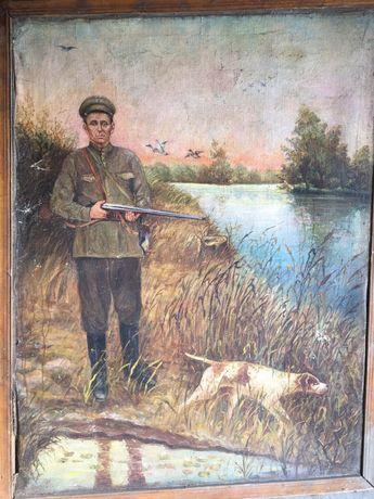 Картина маслом Охотник с собакой