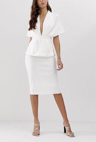Biala elegancka sukienka slub cywilny poprawiny