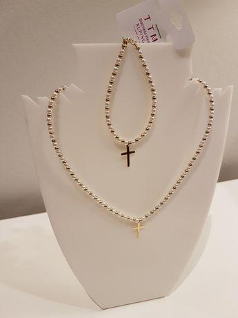 Bransoletka i naszyjnik perły krzyż stal chirurgiczna Xuping