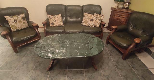 Skórzana kanapa i fotele butelkowa zieleń skóra dąb