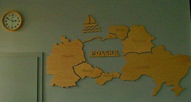 Cnc mapa polski Europy sąsiedzi design loft
