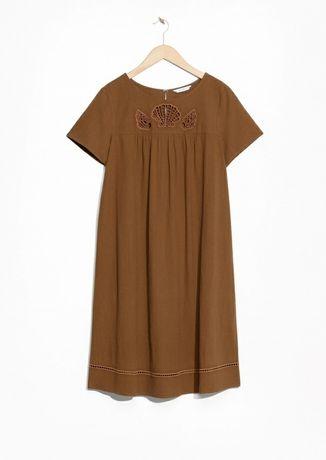 Коричневое платье из льна в этно стиле xs-s