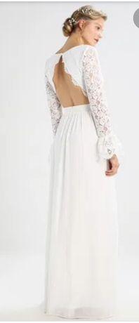 Biała sukienka slubna weselna gleboki dekolt wyciete plecy r.36
