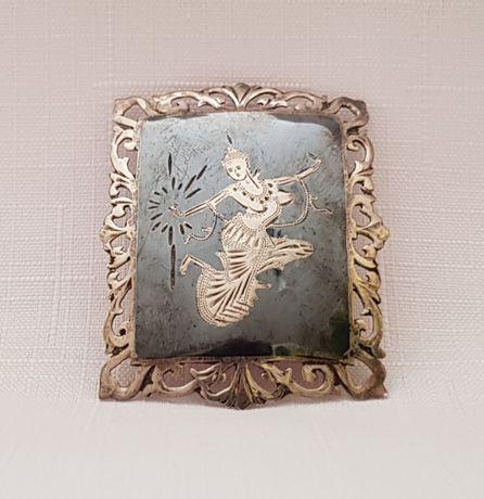 Stara biżuteria srebrna brosza zawieszka Siam Tajlandia