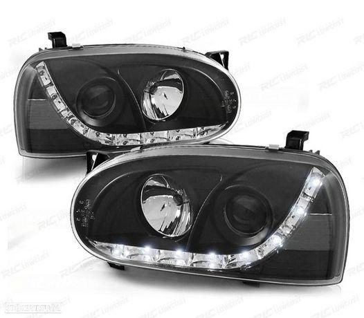 FARÓIS COM LUZ DIURNA LED / VW GOLF 3 MKIII 91-97 FUNDO PRETO