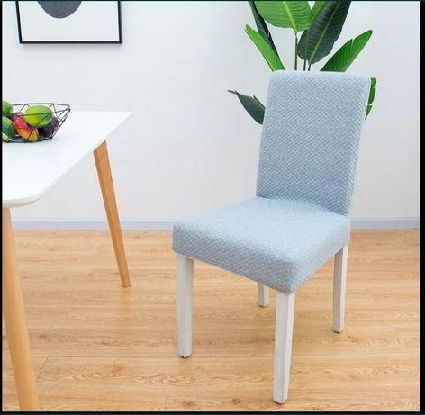 4 pokrowce na krzesła GRUBE JASNOSZARE ROZM M
