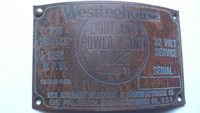 Westinghouse-1921- Tabliczka znamionowa