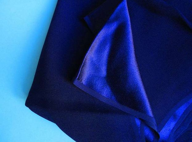 Ткань креп-сатин блестящий темносиний плотный импорт 1970-е годы.