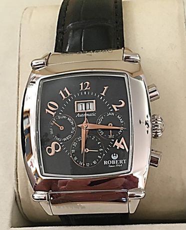 Robert relógio automático multifunções em aço polido com caixa