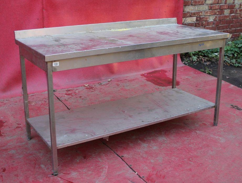 Стол для кухни с полкой из нержавеющей стали 160х70х85 см., Б/у 30989 Киев - изображение 1