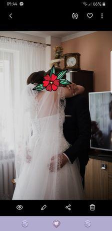 Suknia ślubna LITERA A 40/42/44/46+ halka + welon długi + koszulka