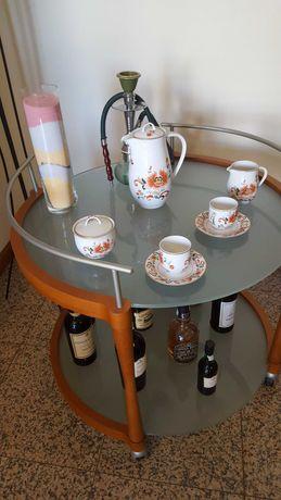 Carrinho de chá e/ou apoio em madeira de cerejeira com 2 vidros