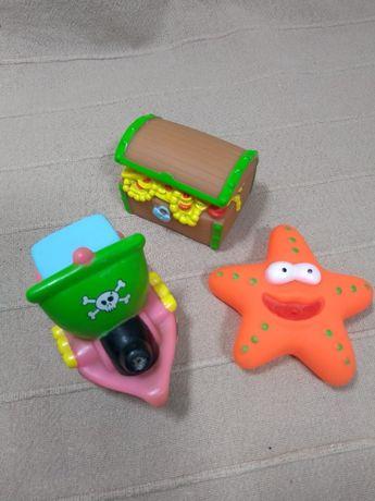 Gumowe zabawki do kąpieli - statek, skrzynia i rozgwiazda