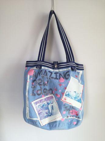 Torebka torba A4 dla dziewczynki plażowa niebieska błękitna rower duża