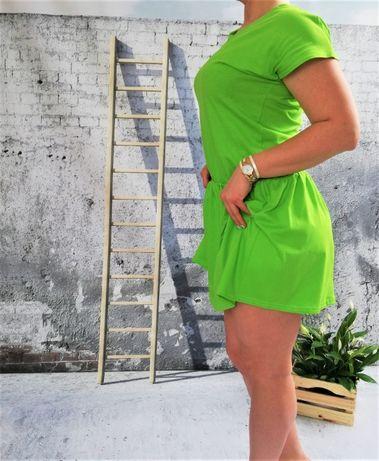 Sukienka Neonowe Kolory Bawełna Zielona S/M
