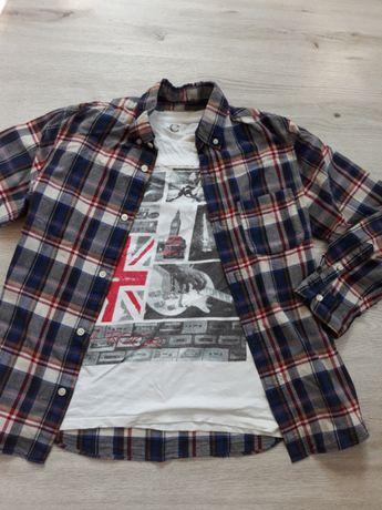 Koszula w kratę H&M + koszulka Cubus12-13lat