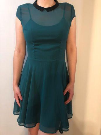 Sukienka Bershka M ciemnozielona