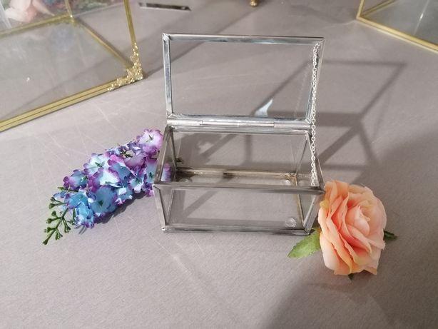 Pudełko szklane, srebrne, szkatułka, organizer, na obrączki, glamour