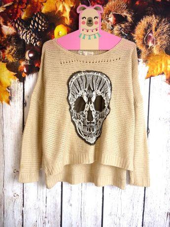 Sweterek skull koronka New Look oversize jesień zima czaszka hot S