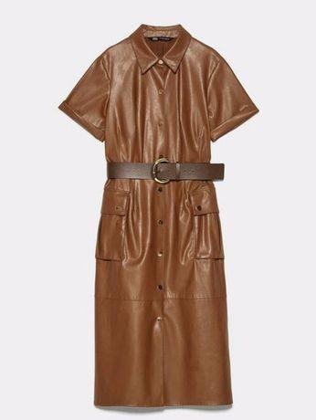 Нереальное кожаное платье zara эко кожа коричневое размер м