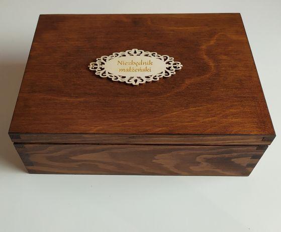 Niezbędnik małżeński rustykalny, drewniane pudełko na herbatę, rustyk