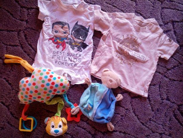 Ubranka dla chłopca 50-86, fotelik z bazą,mata edukacyjna, zabawki