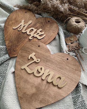 Tabliczka serce MĄŻ ŻONA WESELE ślub rustykalny