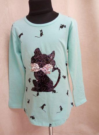 Кофточка туника кофта для девочки 122 р пайетки с котиком реглан кошка