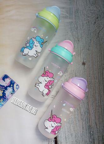 Бутылка для воды.Поилка детская. Бутылка единорог.Бутылка с трубочкой.