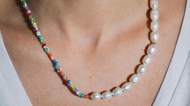 Choker perły naszyjnik koraliki naturalne białe perełki