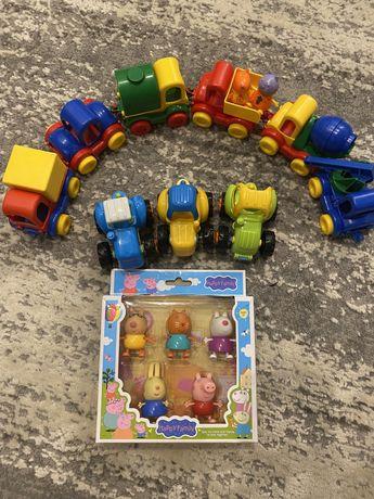 Машинки детские + фигуры свинка пеппа и его друзя