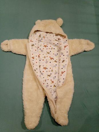 Kombinezon h&m miś biały zima jesień niemowlęcy 0-3 62