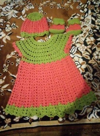Наряд для девочки, платье-туника, шапочка и топики, комплект для малыш