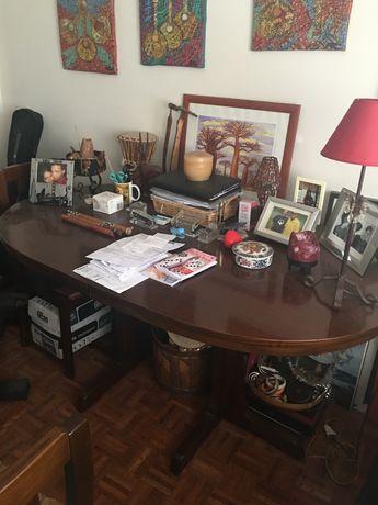 Mesa e Cadeiras de Sala de Jantar Mogno Maciço