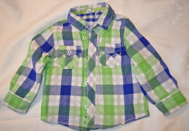 koszula chłopięca 92 Cool Club Smyk casual w kratkę regulowany rękaw