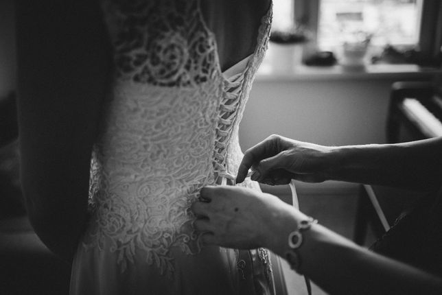 Suknia ślubna muślinowy dół bez trenu 38-40