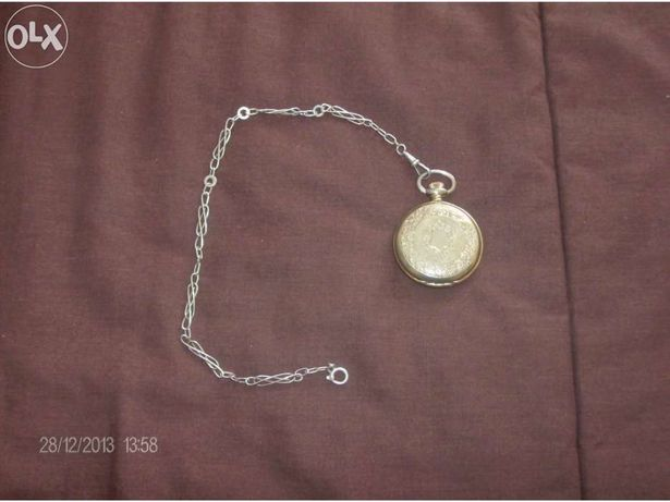 Relógio de bolso de corda banho ouro